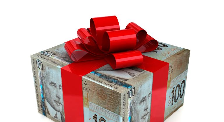 Gift box with currency-detail wrapping paper and ribbon